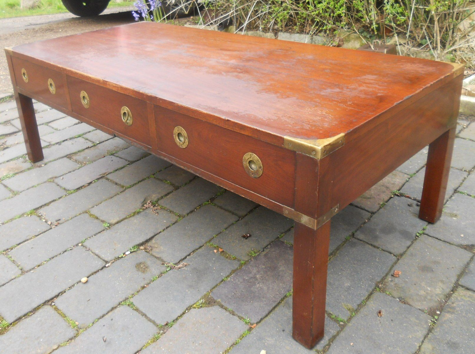 Bradley Coffee Table.Large Military Style Mahogany Coffee Table By Bradley